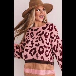 Umgee Leopard Patterned Knit Sweater.